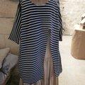 Tunique longue <b>ADRIENNE</b> en maille jersey rayé marine et blanc