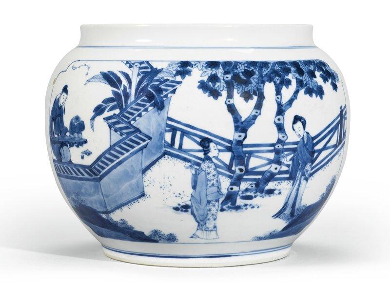 A blue and white 'Xixiang ji' jar, Qing dynasty, Kangxi period (1662-1722)