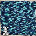 <b>Plaid</b> Bleu/Vert - Carré n°70 - Point de vannerie n°2
