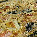 Tarte épinards et <b>saumon</b> fumé.