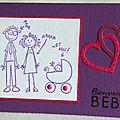 Carte de naissance fille comme un dessin d'enfant