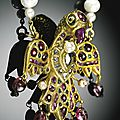An eagle-shaped <b>gem</b>-set pendant, India, Deccan, 18th century,with later pearl chain