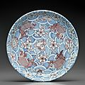 A large and unusual underglaze-<b>blue</b> and copper-red-decorated dish, Kangxi six-character mark in underglaze <b>blue</b> within a double