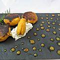 Dessert à l'assiette abricot pêche