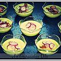 Velouté d'<b>asperges</b>, crevettes & pamplemousses marinés au soja