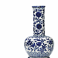 A very rare blue and white '<b>bird</b> and flower' bottle vase, Wanli period (1573-1619)