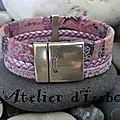 Aimez vous les couleurs violet-mauve de ce <b>bracelet</b> large multirangs en <b>cuirs</b> très originaux et différents ?