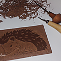 Linogravure d'un joli <b>Hérisson</b>