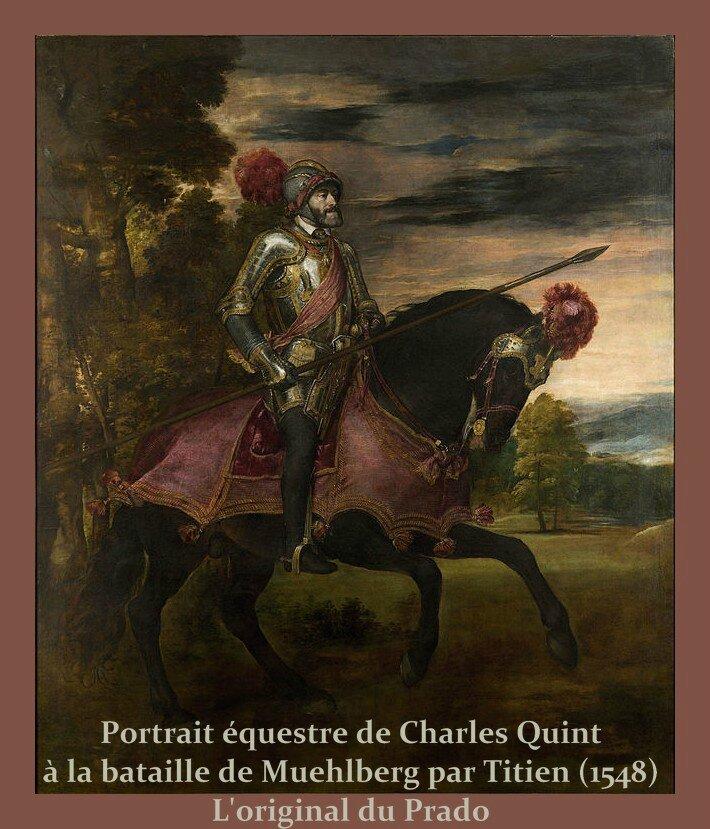 Prado Original Portrait équestre de Charles Quint à la bataille de Muehlberg, par Titien (1548)