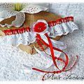 Jarretière <b>champêtre</b> dentelle anglaise rouge et blanc accessoire de mariée