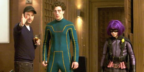 Matthew Vaughn, Aaron Johnson et Chloe Moretz sur le tournage de Kick-Ass