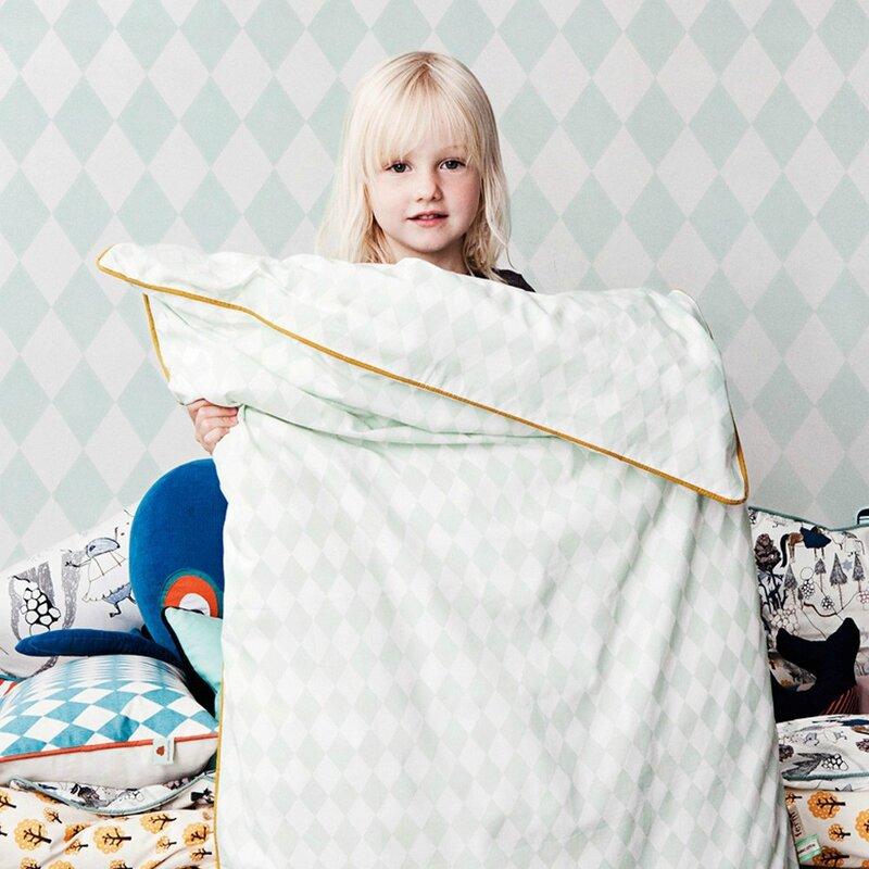 housse de couette pour bébé Ferm living parure-de-lit-harlequin-vert-menthe