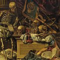 Carstian Luyckx, Memento <b>Mori</b> still life with musical instruments, books, sheet music, skeleton, skull and armour