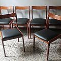Lot 6 chaises 60'S Esprit scandinave