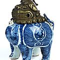 Blue and white Qilin porcelain ritual incense <b>burner</b> with metal head, China, Ming dynasty, 1368 - 1644