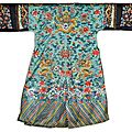 A turquoise-ground embroidered <b>dragon</b> robe, jifu, Qing dynasty, Daoguang period (1821-1850)