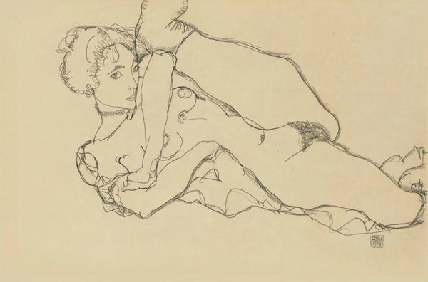 Schiele_Egon-Lying_nude_with_wearing_clothes_left_leg