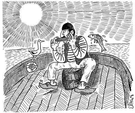 Lmuziga album Izlan Ibahriyen, Chants des Marins Kabyles; dessin d'Elho