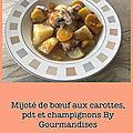 Mijoté de bœuf aux carottes, pdt et <b>champignons</b>