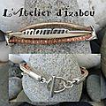 <b>Bracelet</b> maman multimatières <b>cuirs</b> satinés, <b>cuir</b> beige, chaine boule en cage rosée, chaine argenté et passants !