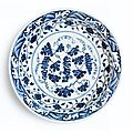 A blue and white '<b>grape</b>' charger. Ming Dynasty, Yongle period