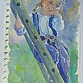 <b>Croquis</b> - Aquarelles - enfance 4 sur l'échelle