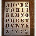 <b>Plaque</b> de pochoirs alphabet