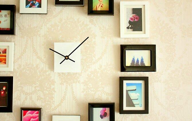 Diy faire une horloge murale partir de cadres photos - Fabriquer une horloge murale ...