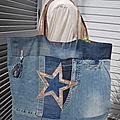 Cabas de plage ou de shopping réalisé dans un jeans IKKS recyclé - patchwork de pièces assemblées