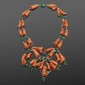 Carved Coral and Emerald <b>Bead</b> Wilting Hibiscus Necklace by Suzanne Belperron, circa 1930s