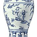 A finely painted and rare <b>blue</b> and white vase (meiping), Ming dynasty, late 15th century