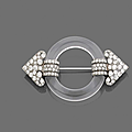 An <b>art</b> <b>deco</b> rock crystal, diamond and platinum brooch