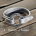 <b>Bracelet</b> femme cuir chic gris, rond