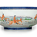 A rare initialed <b>fox</b> hunting punch bowl, Qianlong period, circa 1795