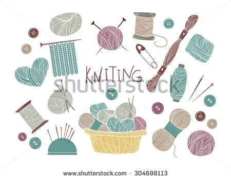 stock-vector-hand-drawn-vector-vintage-illustration-set-of-knitting-and-crafts-yarn-pins-buttons-thread-304698113