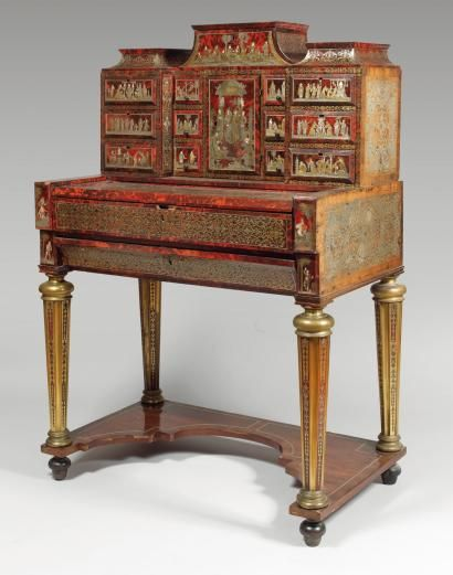 marqueterie boulle bureau cabinet orn de sc nes chinoises probablement augsbourg vers 1700. Black Bedroom Furniture Sets. Home Design Ideas