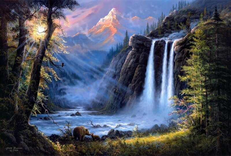 oil-painting-print-on-canvas-Jesse-Barnes-font-b-Forest-b-font-waterfalls-bear-snow-mountain