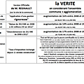 Monsieur REGNAULT : Tableau Comparatif entre VERSION OFFICIELLE (Site Commune) et la <b>VERITE</b>!