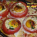 Oeufs cocottes de <b>tomates</b> au thon et paprika