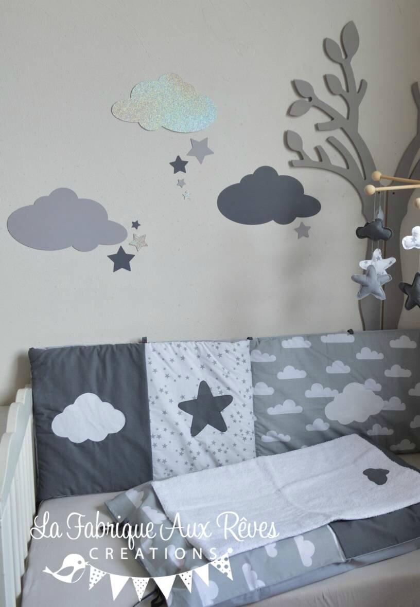 stickers nuages toiles gris fonc argent gris clair d coration chambre b b fille gar on. Black Bedroom Furniture Sets. Home Design Ideas