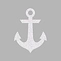 ancre marine blanc pailleté 6 cm petit format flex thermocollant (réservé Sophie)