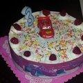Gateau d'anniversaire cars : framboisier