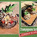 Champignons farcis au boeuf & chorizo