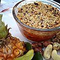 Crumble aux Trois Noix sur base de Poivrons grillés et à la sauce Tomate-Ananas-Gros Piment (<b>Sans</b> <b>Gluten</b>)