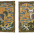 A pair of military official's qilin rank <b>badges</b>, Qing Dynasty, 18th century