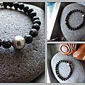 Bracelet Pierre de <b>Lave</b> et Perle de Tahiti