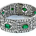<b>Art</b> <b>Deco</b> emerald and diamond bracelet