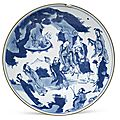 A large <b>blue</b> and white 'Immortals' dish, Early 17th century