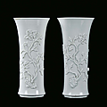 Pair of Blanc de Chine porcelain trumpet <b>vase</b>, China, Dehua, Qing Dynasty, end 17th century