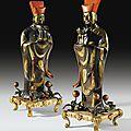 Paire de dignitaires chinois en cuivre laqué et doré, Chine, <b>fin</b> du XVIIe/début du XVIIIe siècle